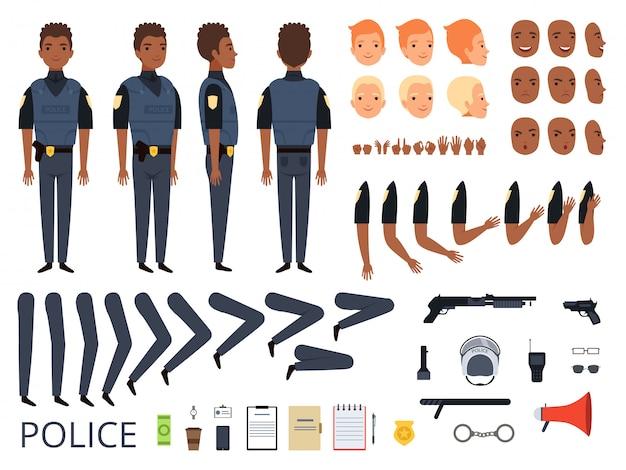 Personagens da polícia. detalhe criação kit construtor guarda-costas homem policial poses e roupas profissionais uniformes e ferramentas dos desenhos animados