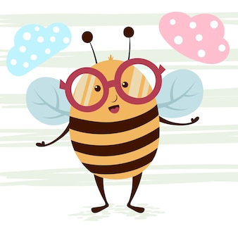 Personagens de abelha engraçado, bonito dos desenhos animados.