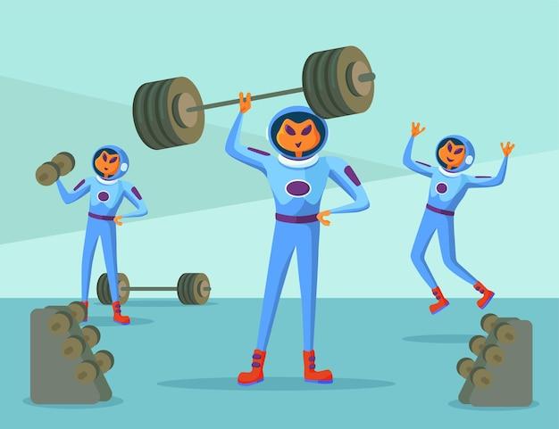 Personagens de alienígenas em trajes espaciais, exercitando-se no ginásio. ilustração engraçada dos desenhos animados de recém-chegados laranja levantando halteres