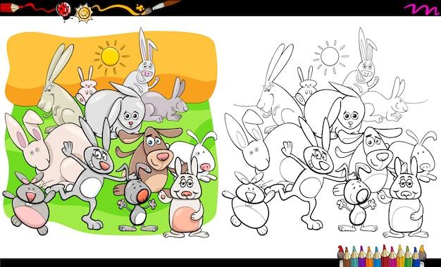 Personagens de animais coelhos engraçados livro para colorir