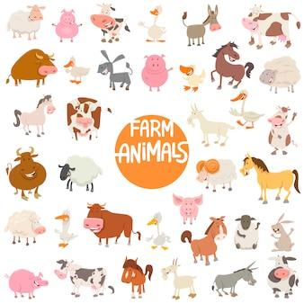 Personagens de animais de desenho grande conjunto