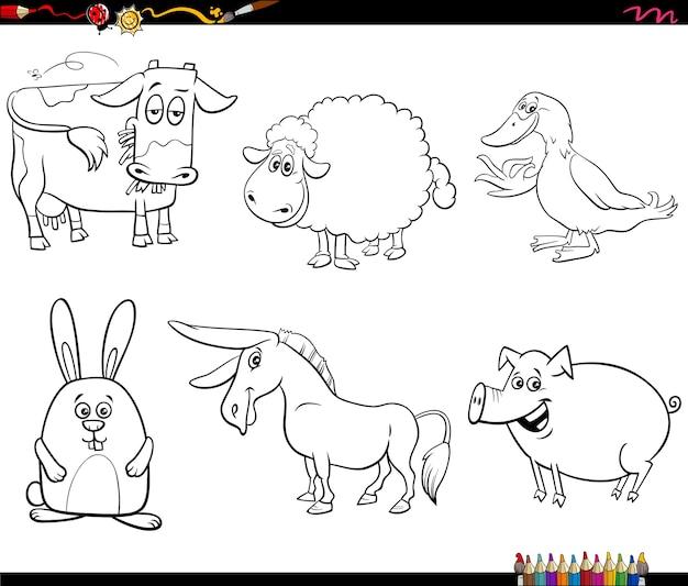 Personagens de animais de fazenda de desenho animado definir página de livro para colorir