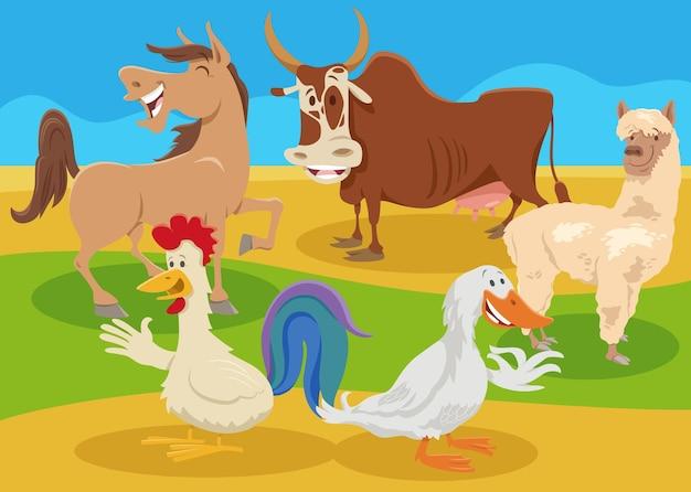 Personagens de animais de fazenda de desenho animado no campo