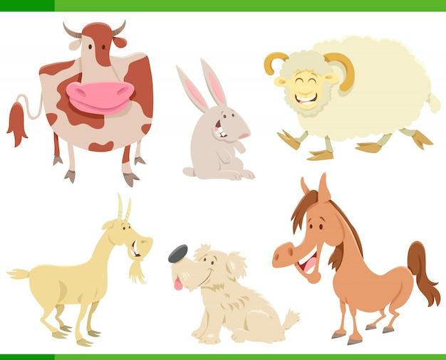 Personagens de animais de fazenda feliz dos desenhos animados conjunto