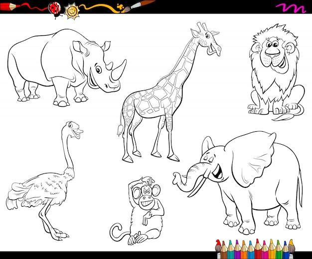 Personagens de animais dos desenhos animados de safari livro para colorir