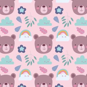 Personagens de animais fofos dos desenhos animados urso enfrenta fundo de folhas e flores de nuvens de arco-íris