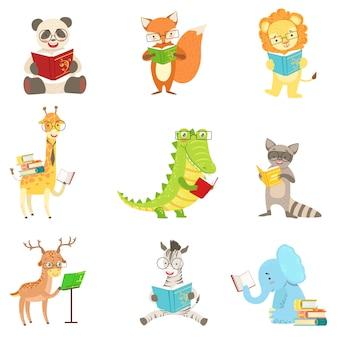 Personagens de animais fofos, lendo o conjunto de livros