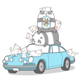 Personagens de animais kawaii e carro.