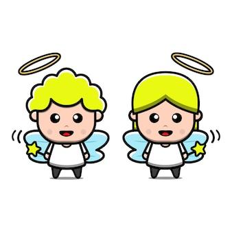 Personagens de anjos masculinos e femininos