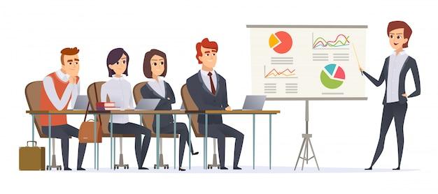 Personagens de apresentação do negócio. grupo de gerentes, sentado na sala de aula, ouvindo o conceito de seminário de negócios de sofá de aprendizagem