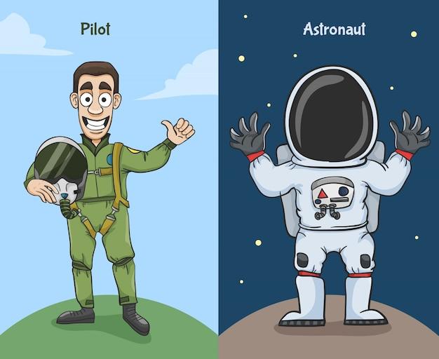 Personagens de astronauta e piloto