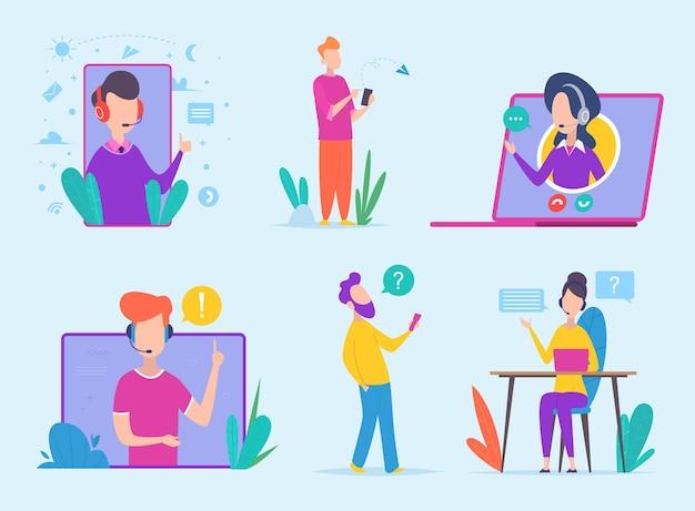 Personagens de atendimento ao cliente. ícones de conceito de vetor de linha direta de agência de suporte virtual clientes de negócios de linha de ajuda. assistência de suporte, ilustração de informações do operador assistente