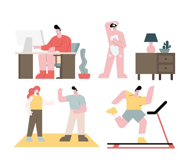 Personagens de atividades da vida cotidiana de pessoas