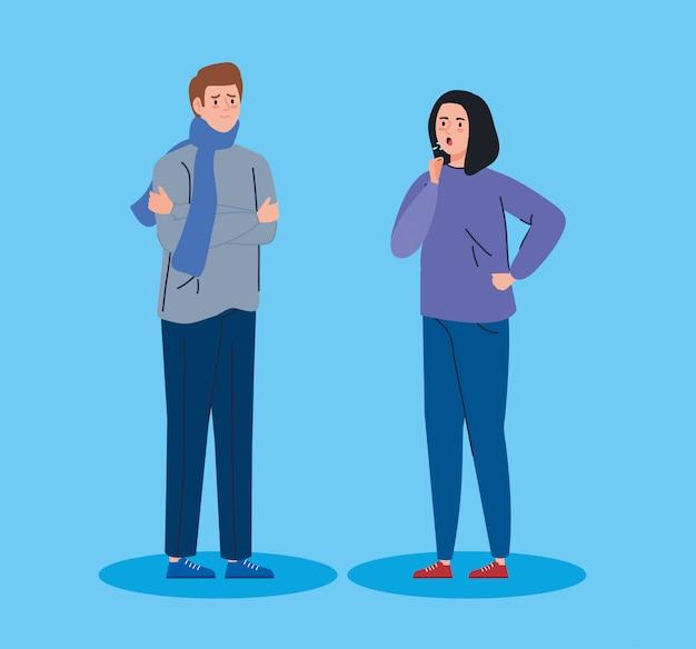 Personagens de avatar doente jovem casal