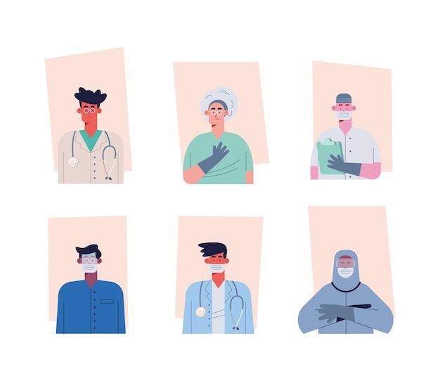 Personagens de avatares da equipe de médicos profissionais
