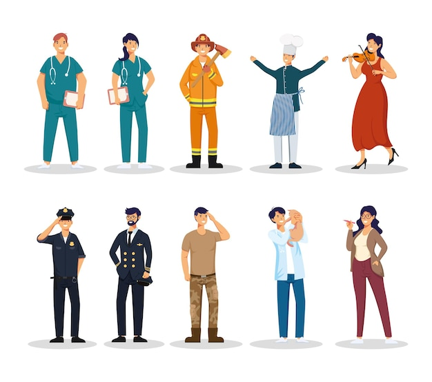 Personagens de avatares de grupos de dez profissões de trabalhadores