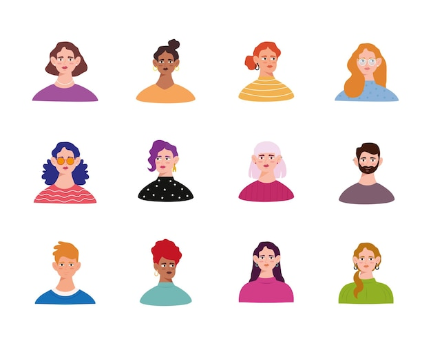 Personagens de avatares de grupos de jovens