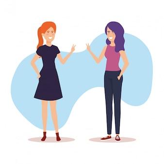 Personagens de avatares de meninas casal