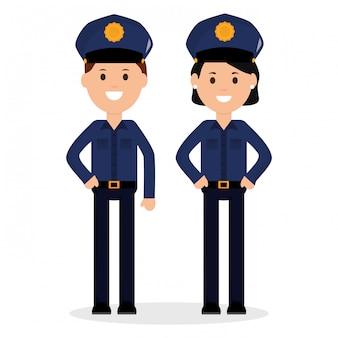 Personagens de avatares de policiais de casal