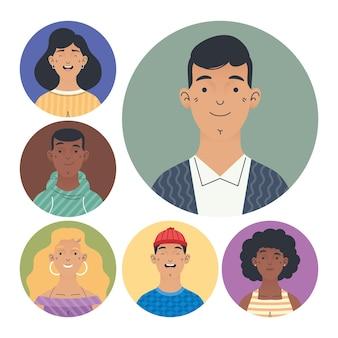 Personagens de avatares do grupo de jovens