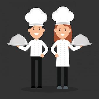 Personagens de avatares jovem chef casal