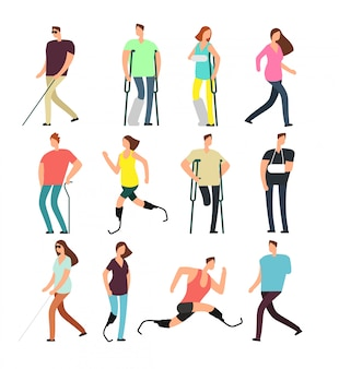 Personagens de banda desenhada do vetor das pessoas deficientes ajustadas. pessoas com deficiência isoladas