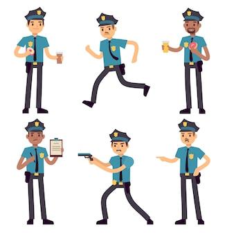 Personagens de banda desenhada do vetor do policial do oficial isolados. policiais de patrulha para o conceito de polícia. pessoa de policial, segurança de caráter no uniforme e ilustração de boné