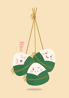 Personagens de bolinhos de arroz pegajoso zongzi