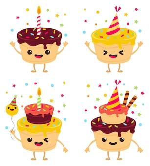 Personagens de bolos felizes com granulado e velas