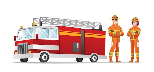 Personagens de bombeiros masculinos e femininos com ilustração de caminhão de bombeiros