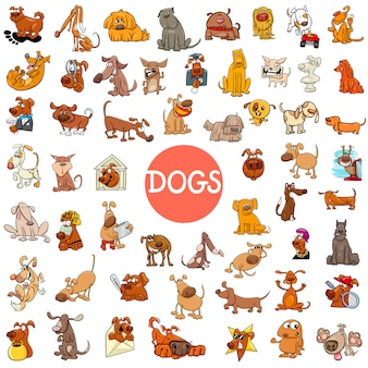 Personagens de cachorro de desenho animado grande conjunto