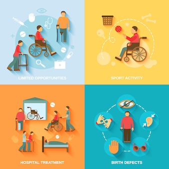 Personagens de cadeira de rodas com deficiência e composição de elementos definida plana