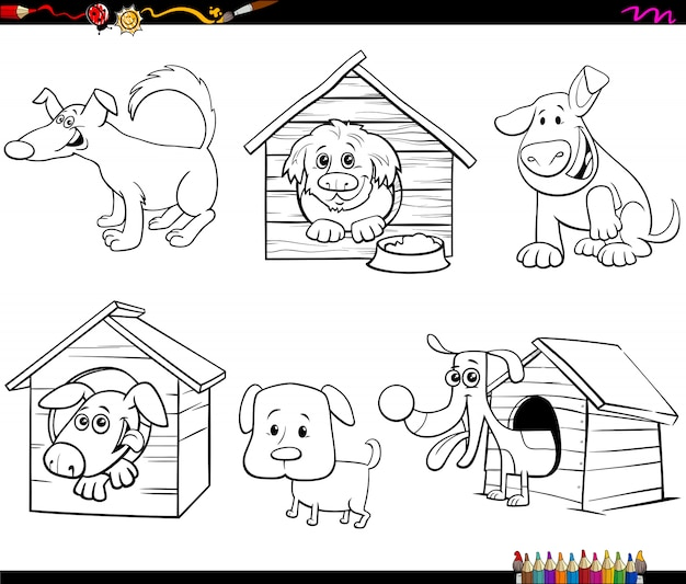 Personagens de cães engraçados dos desenhos animados para colorir página de livro