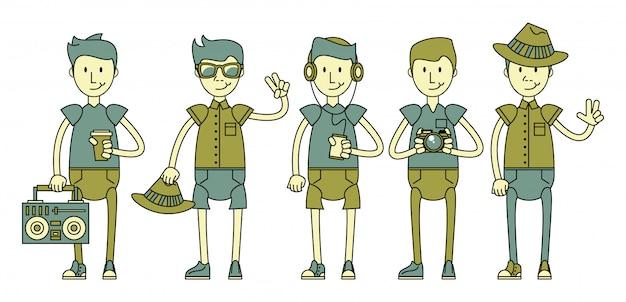 Personagens de caras legais hipster