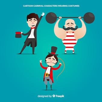Personagens de carnaval dos desenhos animados vestindo trajes