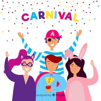 Personagens de carnaval vestindo trajes