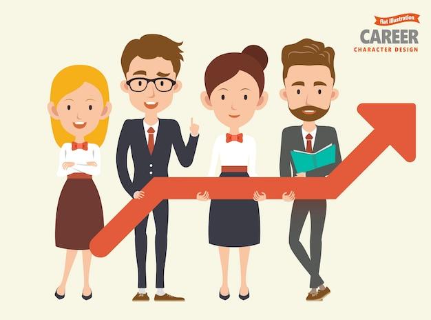 Personagens de carreira definidos com colegas segurando uma seta crescente