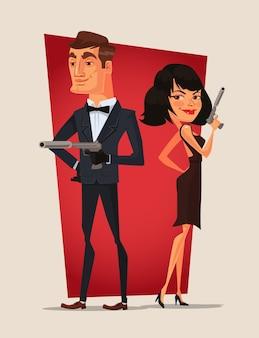 Personagens de casais espiões.