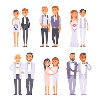 Personagens de casais gays de casamento
