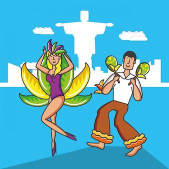 Personagens de casal dançarinos brasileiros