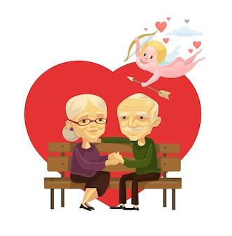 Personagens de casal de idosos.