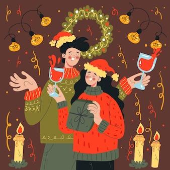 Personagens de casal homem mulher celebrando elemento de design de feliz natal de ano novo