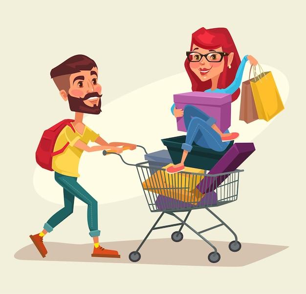 Personagens de casal homem mulher fazendo compras juntos