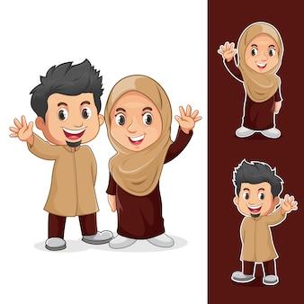 Personagens de casal muçulmano