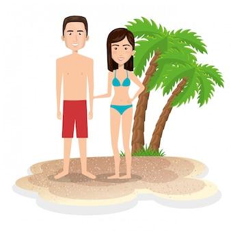 Personagens de casal na praia