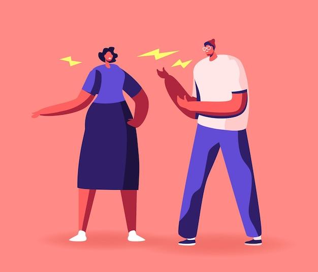 Personagens de casal zangado discutindo, gritando, culpando um ao outro