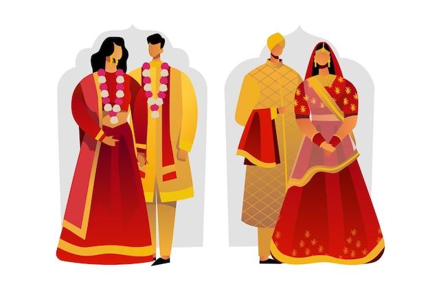 Personagens de casamento indianos