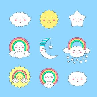 Personagens de céu bonito para design de estampas infantis