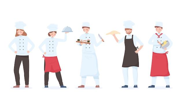 Personagens de chefs, desenhos animados para funcionários do restaurante com bandeja e refeições diferentes