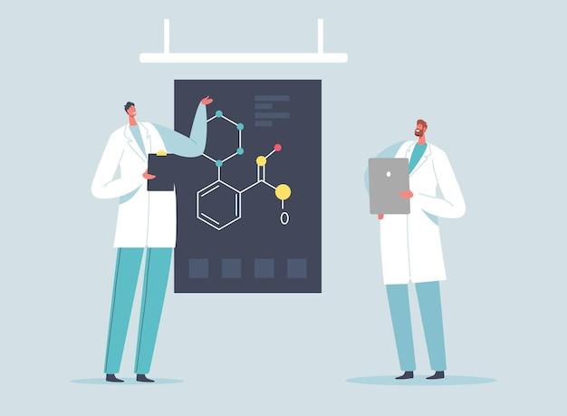 Personagens de cientistas com comprimidos explicam a fórmula química na tela do laboratório, métodos científicos, hipóteses e conclusão. pesquisa científica no conceito de laboratório. ilustração em vetor desenho animado
